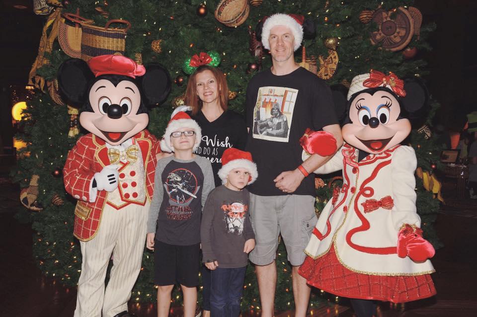 Christmas Mickey and Santa hats and ears at Disney World