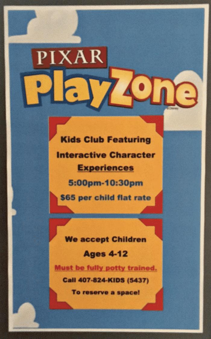 Pixar Play Zone Information