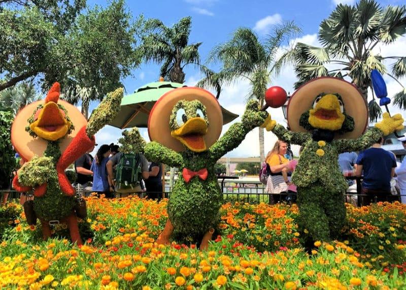 epcot three caballeros topiary