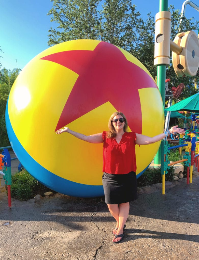 Andrea Updyke with Luxo Ball at Toy Story Land