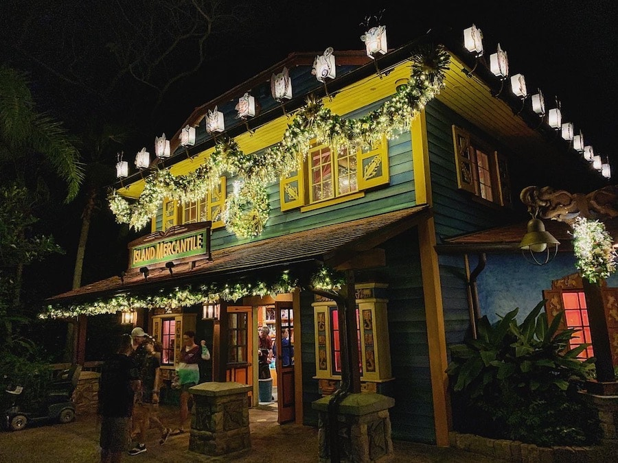 Island Mercantile with holiday lanterns