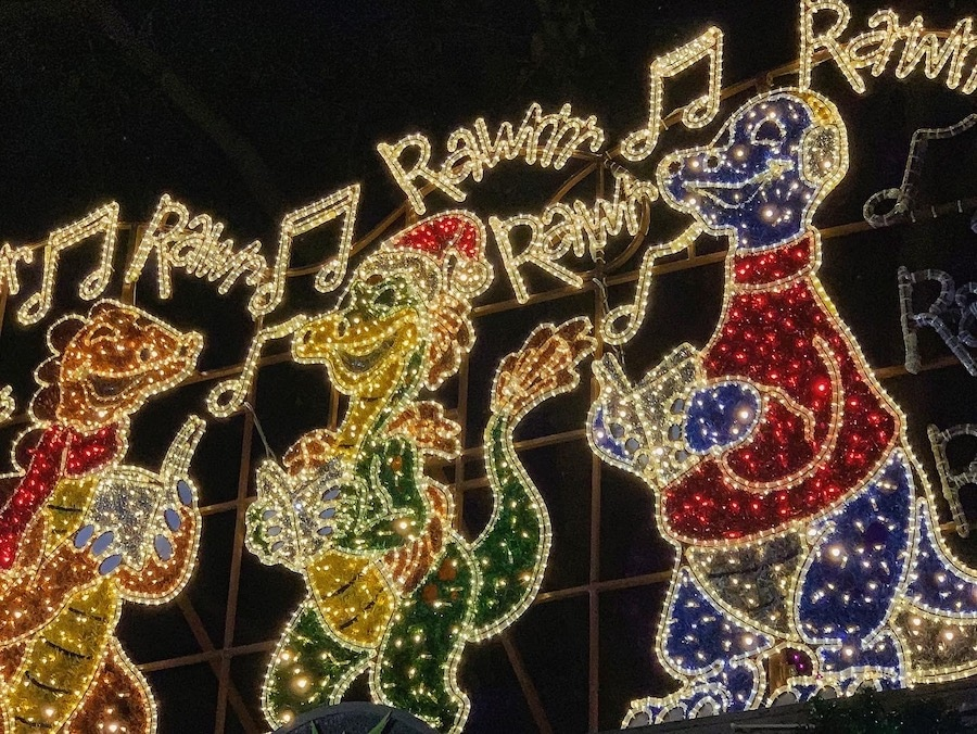 holiday lights in dinoland