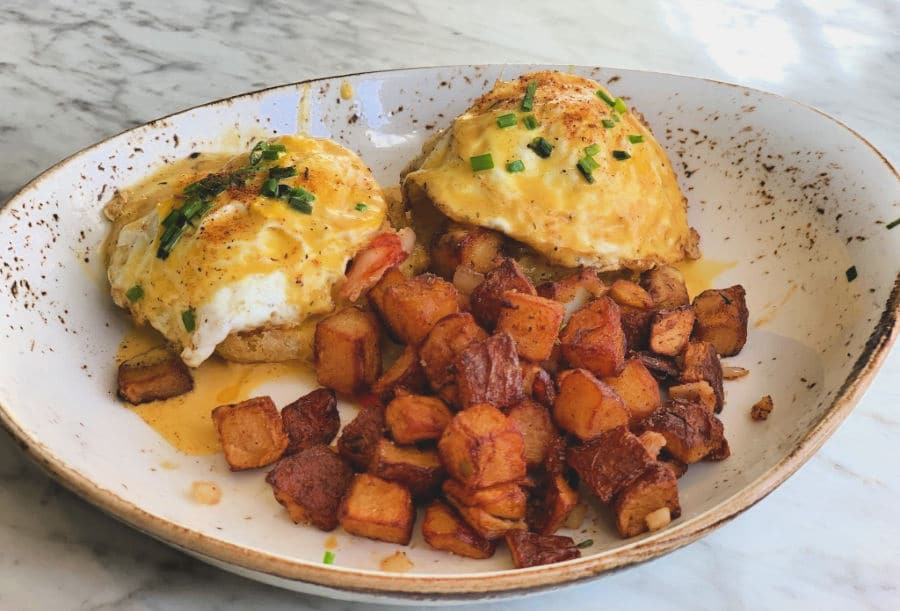 Lobster-Fried Green Tomato Eggs Benedict
